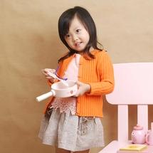 女童装橙色上衣开钮