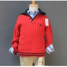童毛衣秋童装 强货外贸纯棉百搭长袖毛衣 翻领毛织衫外套