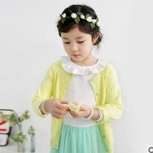 韩国童装2014秋款新品女童毛织开衫长袖韩版宝宝外套