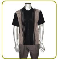 男裝反領間色開胸短袖衫